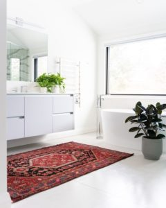 White bathroom design photo of our bathroom tiling job in Barmah with white floor tiles