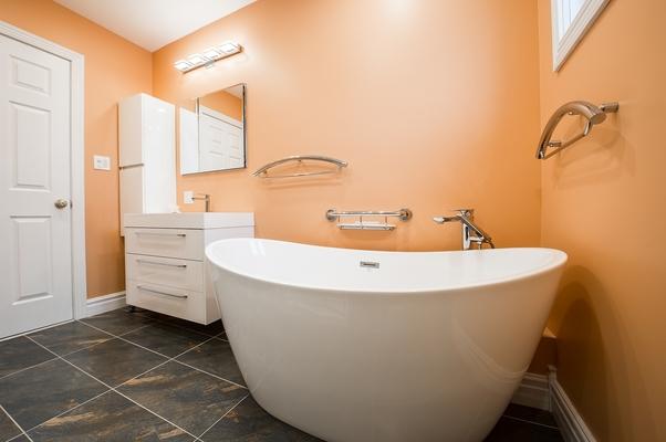 Bathroom tiling job done in Mathoura with rustic finish floor tiles (1)