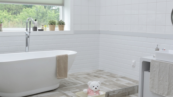 Bathroom tiling job we completed in Mathoura with white subway tiles (1)