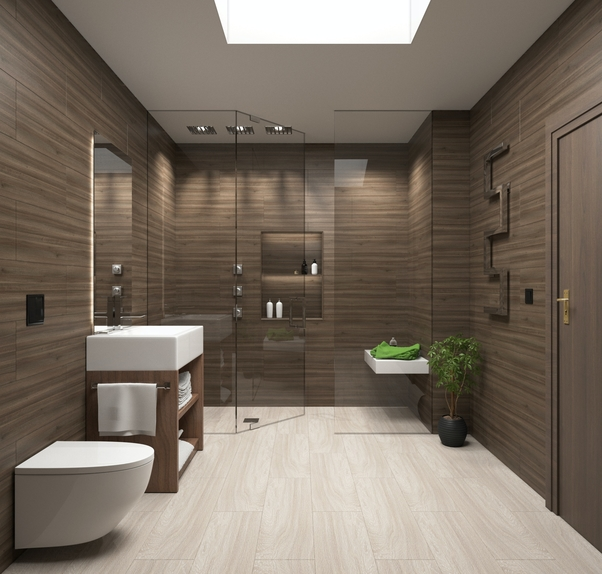 Modern bathroom renovation design done in Cobram with wood look floor and wall tiles https://www.norvictiling.com.au