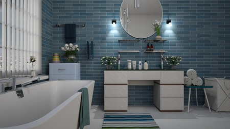 Bathroom renovation done by our tiling expert in Cohuna with blue porcelain tiles