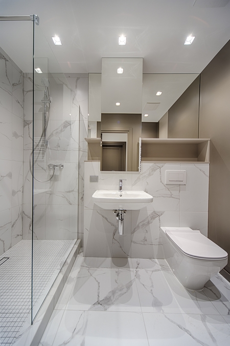 Luxury design bathroom renovated in Cohuna with marble tiles