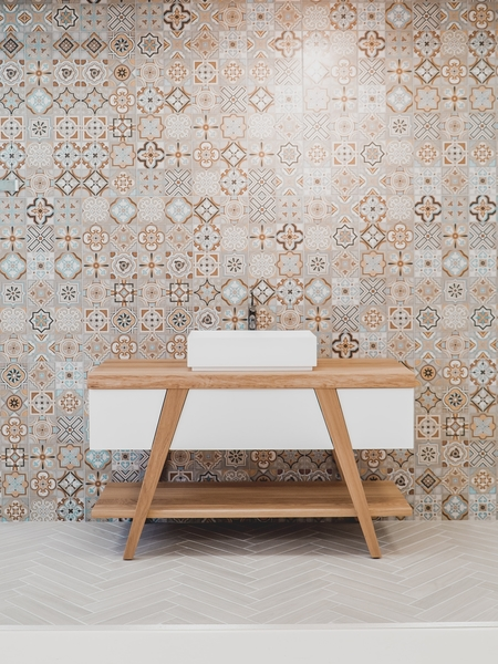 Bathroom renovation we completed in Bendigo with pattern tiles